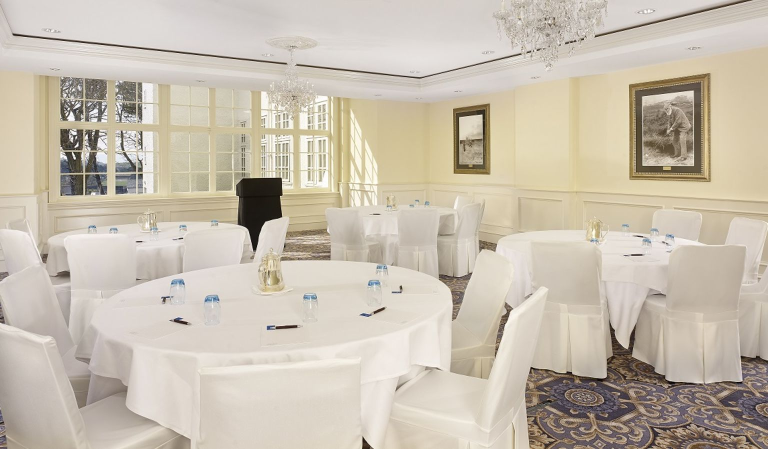 Meeting Room with Podium and Tables