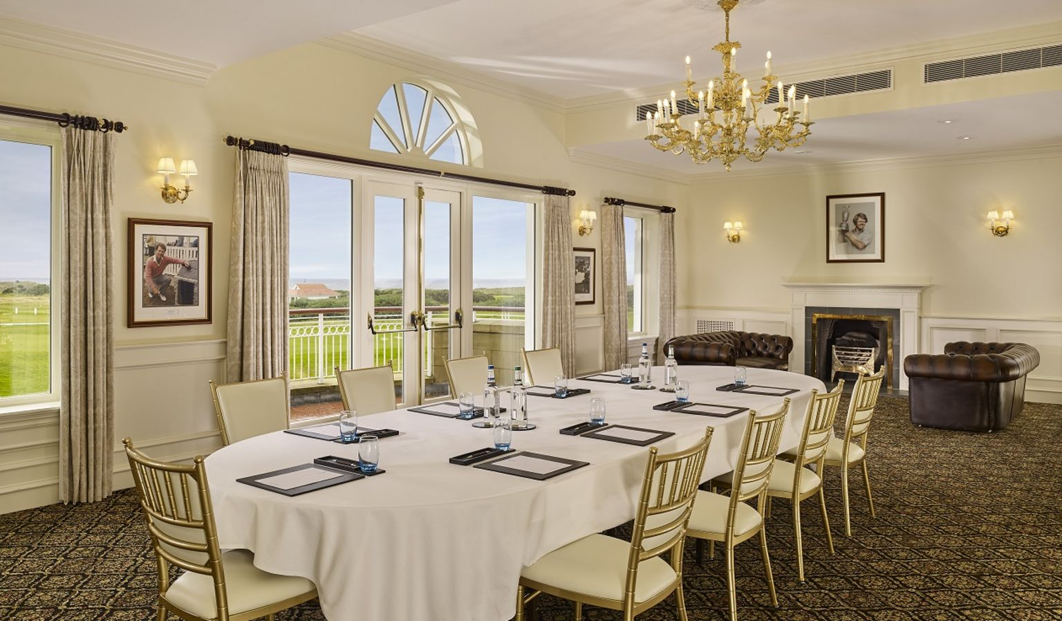 Boardroom with Long Table and Fireplace