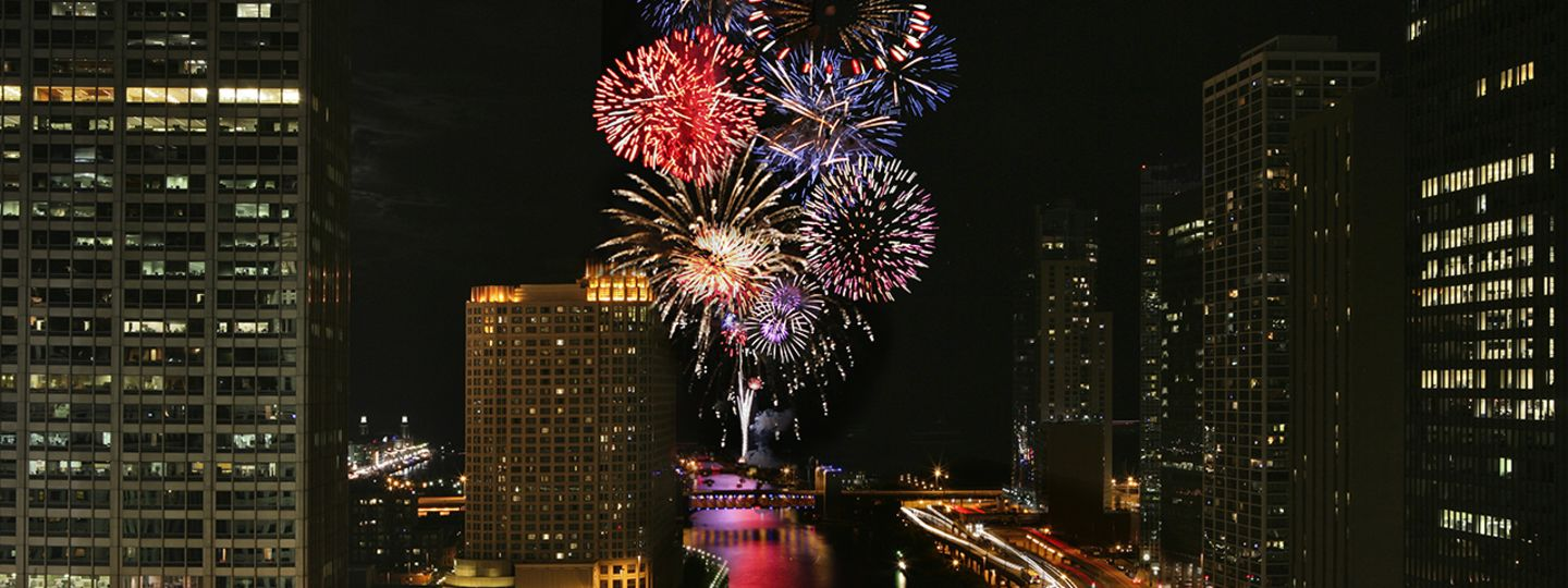 View of Fireworks from Trump Chicago