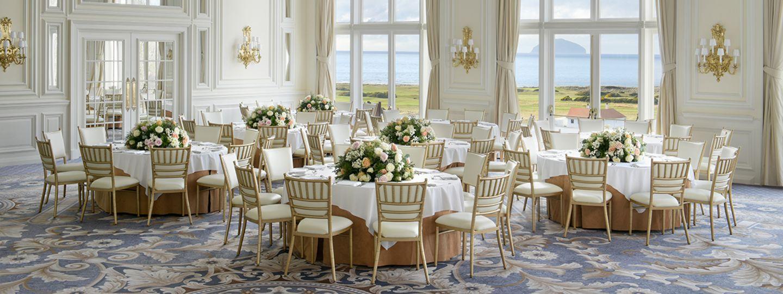Donald J. Trump Ballroom with White Table Cloth