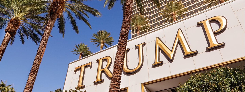 Trump Las Vegas Signage with Palm Trees