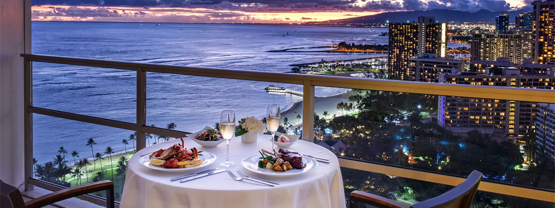 Dinner on Balcony at Night