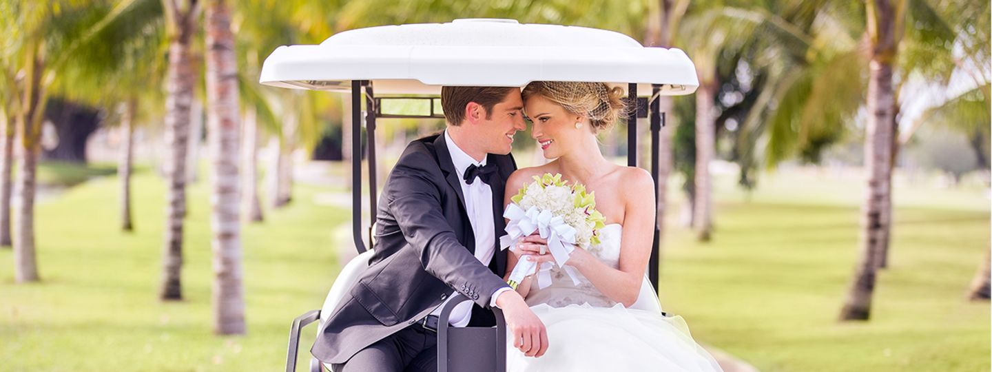 Wedding Couple in Back of Golf Cart