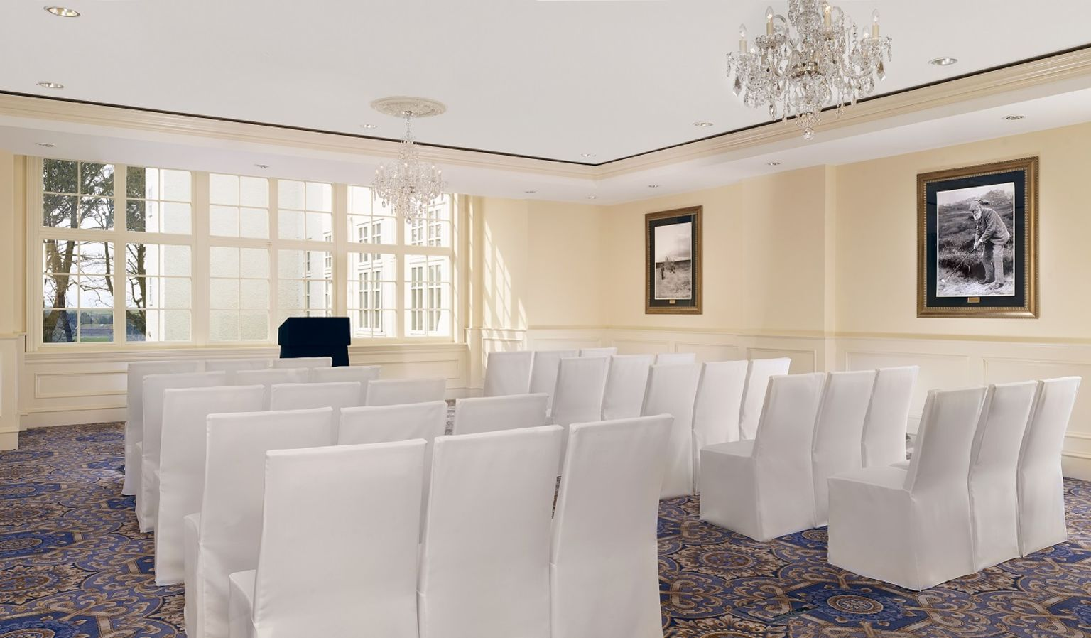 Meeting Room with Chairs Facing Podium