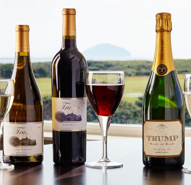 Trump Wine Bottles and Wine Glasses