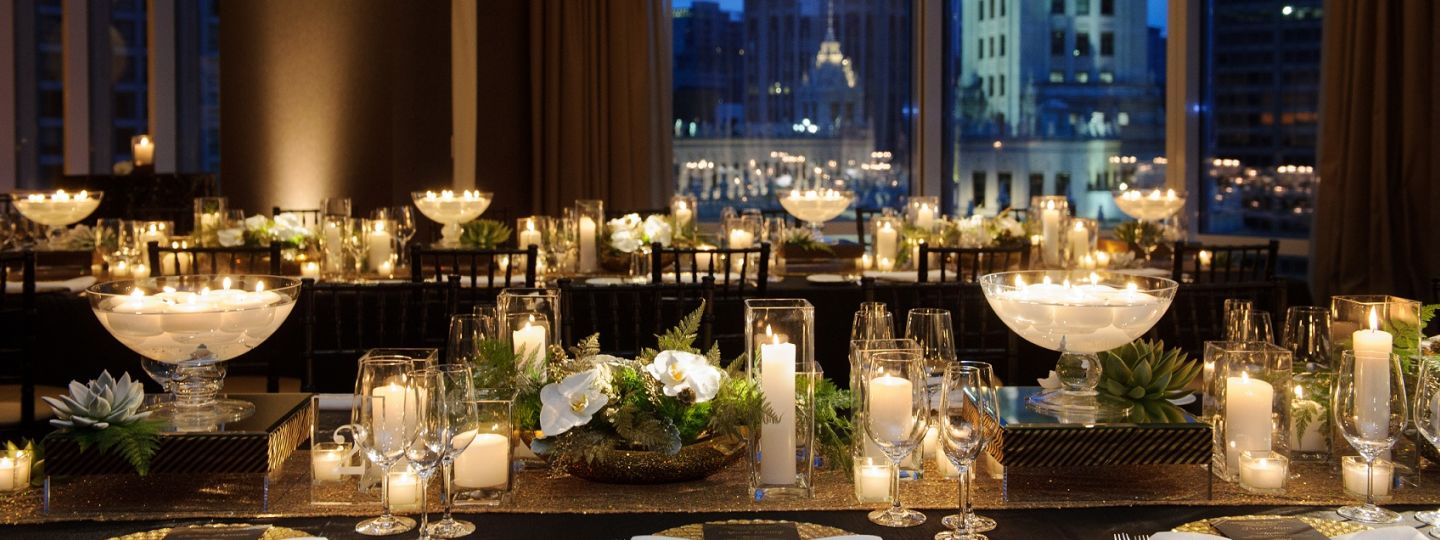 Tables with Candles and Flowers
