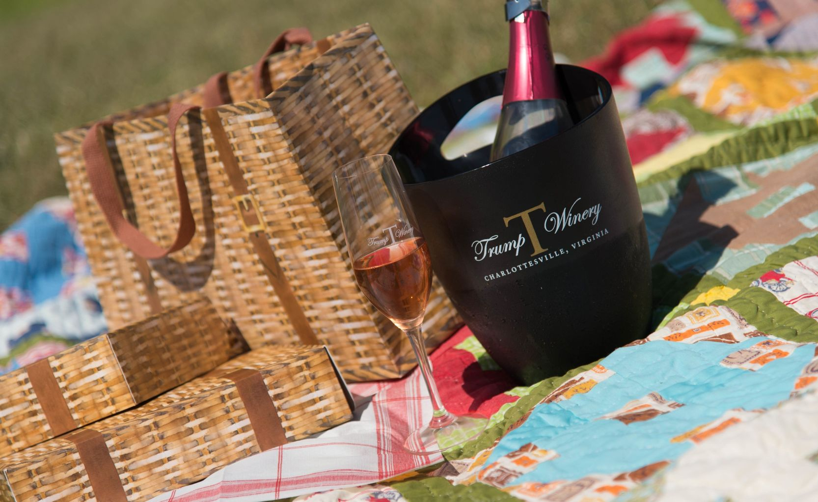 Trump Wine Bottles and Glass with Picnic Basket