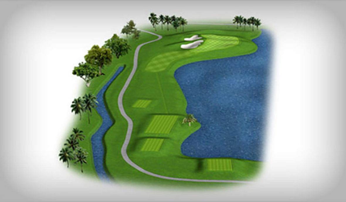 golf green near water