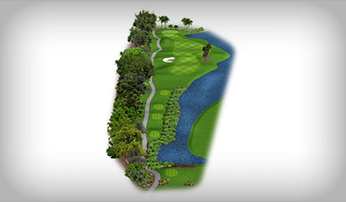 golf course fairway map next to pond