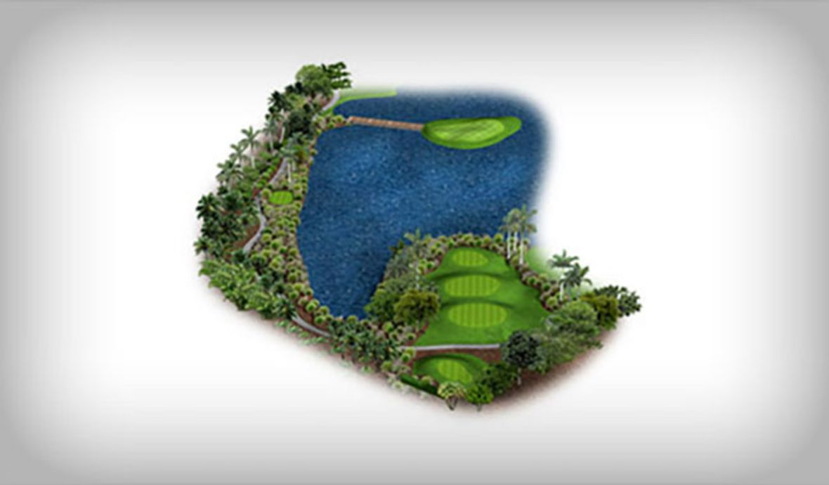 golf green surrounded by water