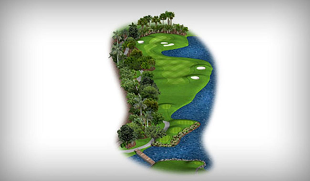 golf course map with bridge