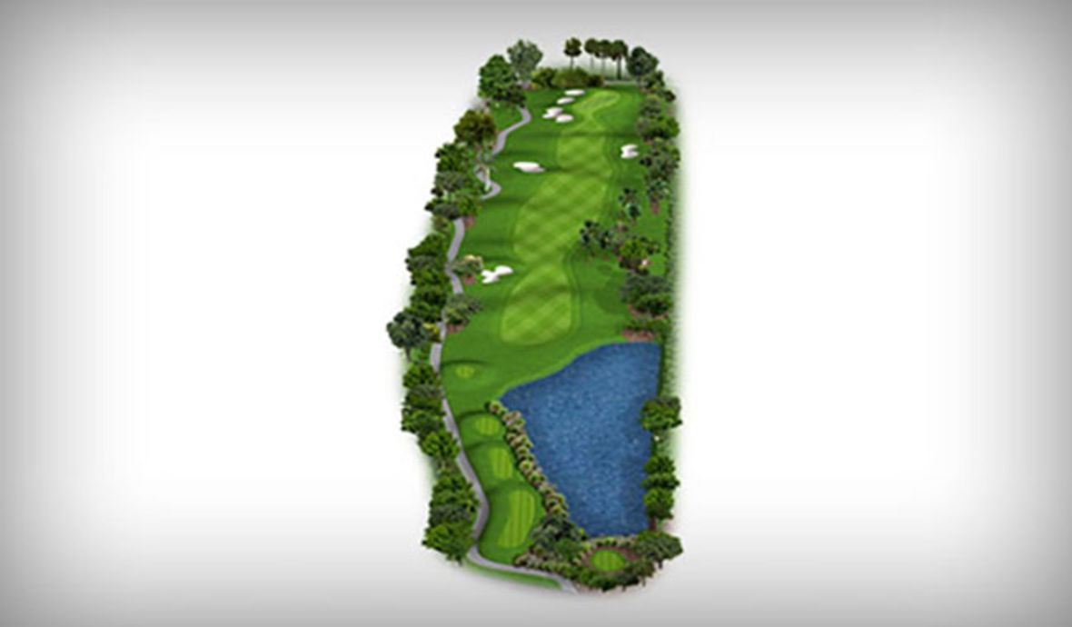 map of golf fairway with water hazard