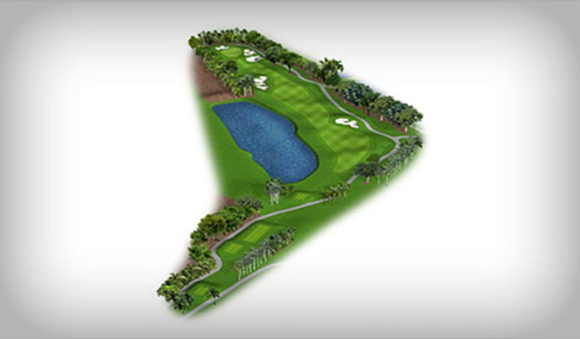 digital golf map with water hazard