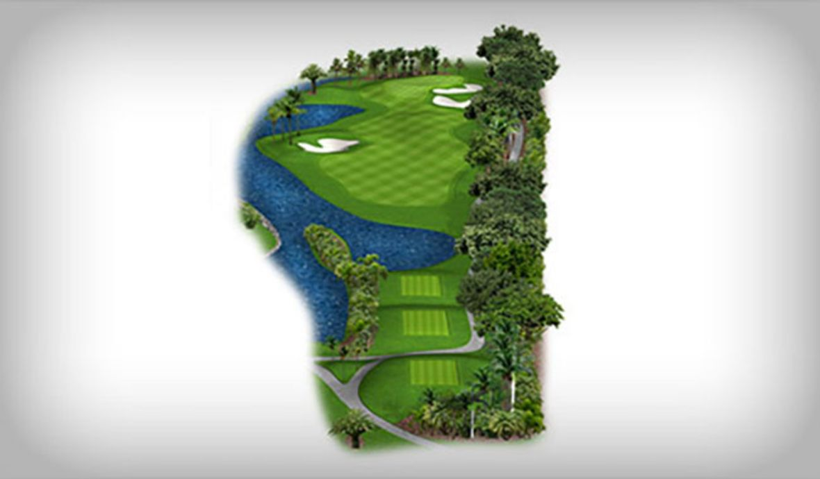 digital golf course map with water hazard