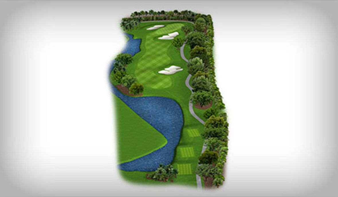 map of golf course with sand traps