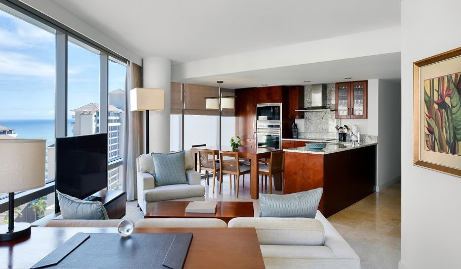 Trump Waikiki Suite Living Space and Kitchen