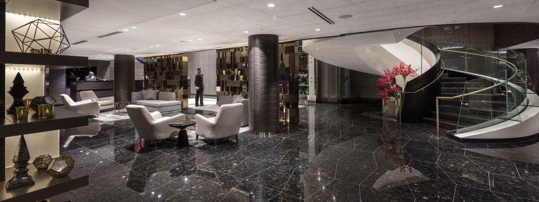 hotel interior front lobby area