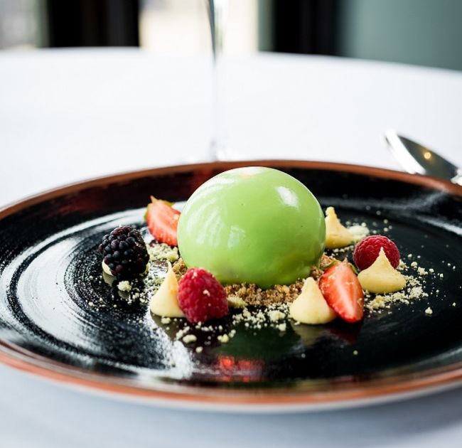 Dessert with ice cream and fruit