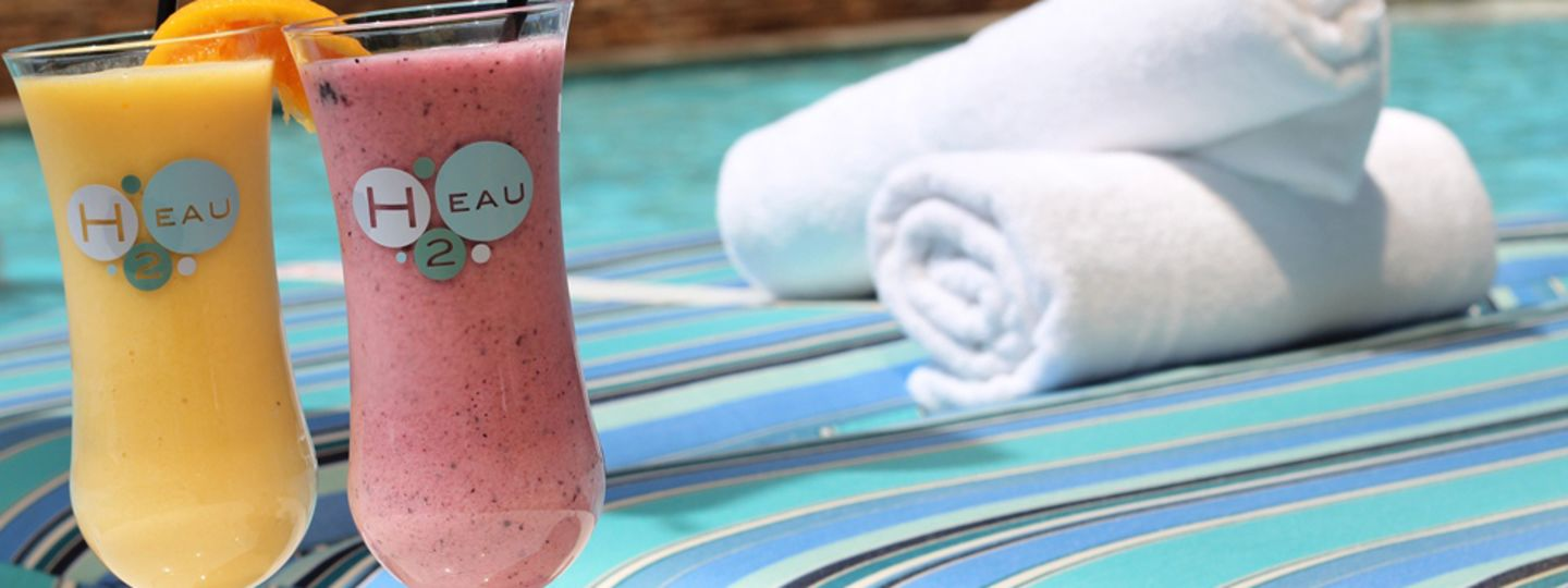 Orange and Berry Drinks near Pool