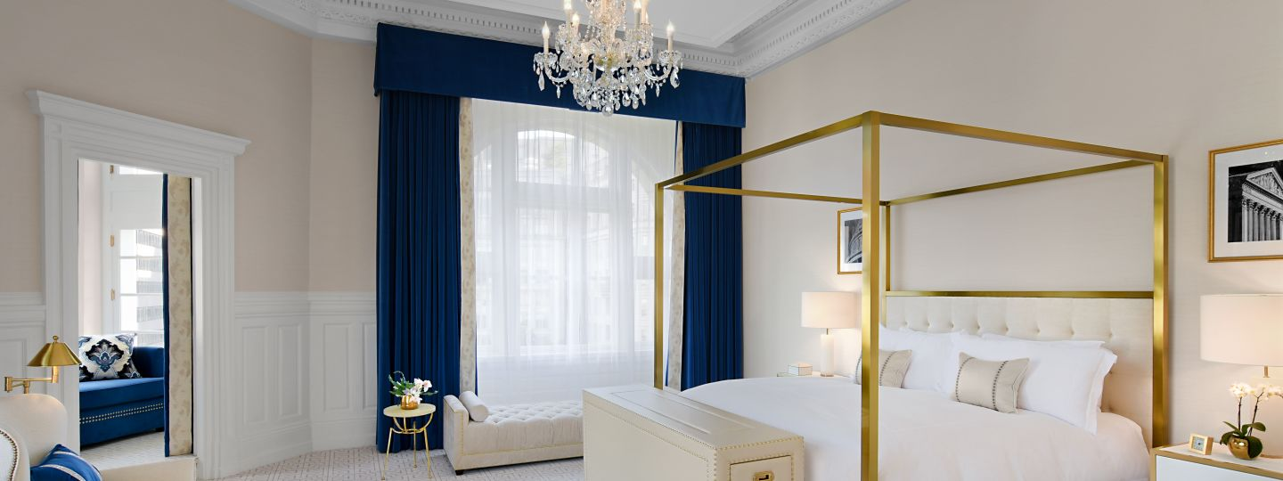 King Bed With Gold Canopy