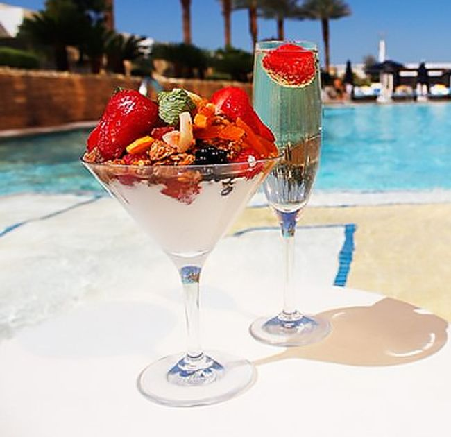 Yogurt Parfait and Champagne near Pool