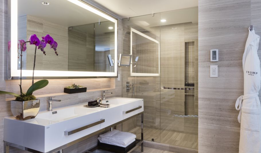 hotel interior bathroom with see-through shower