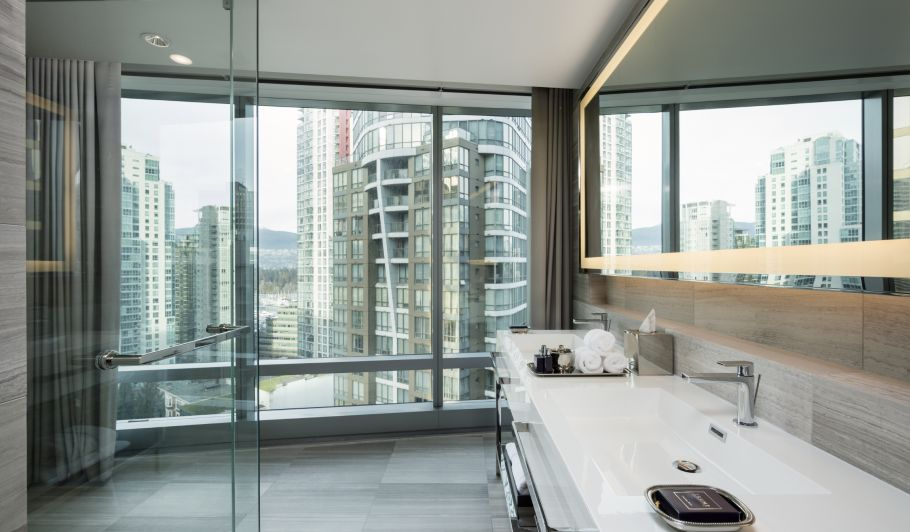 hotel interior bathroom with city view