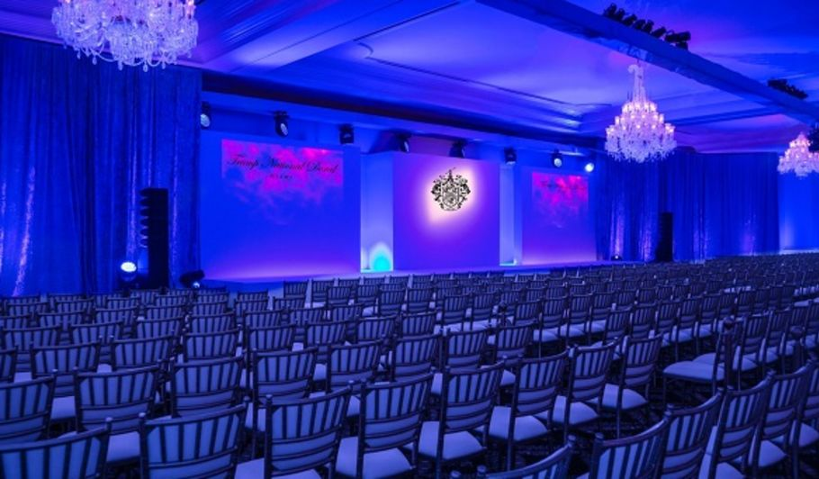 Ballroom with Chairs Configured For Presentation