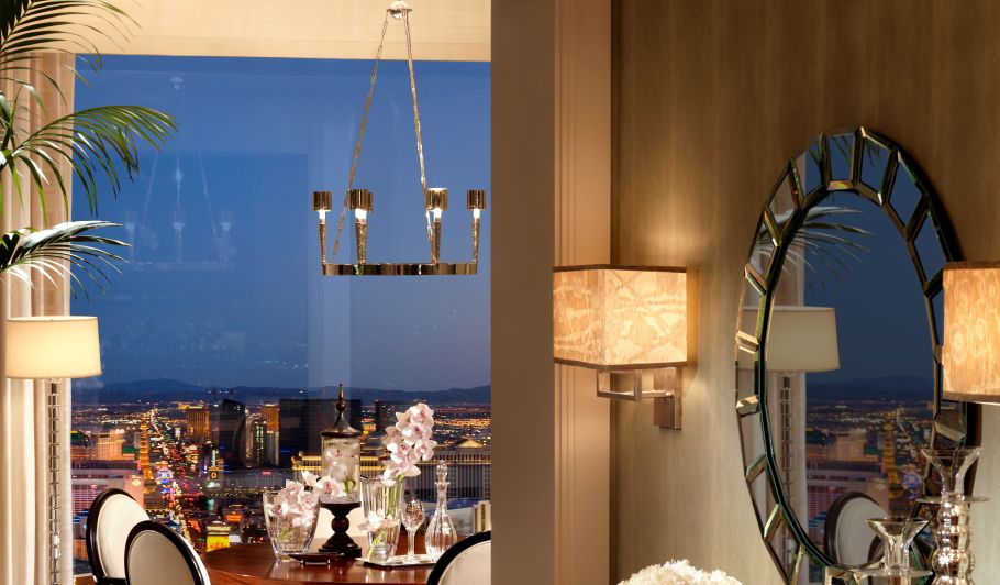 Mirror and Dining Area with Las Vegas View