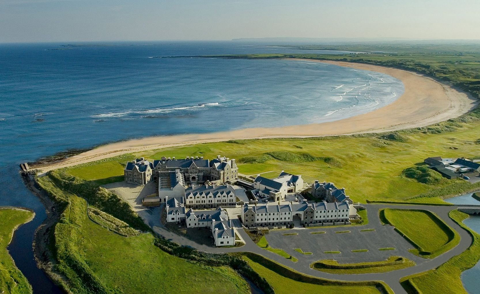Drone View of Doonbeg Exterior and Ocean