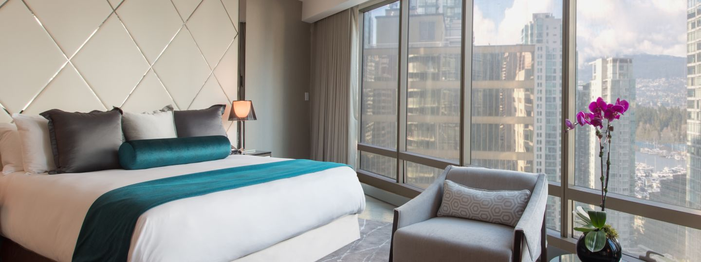 hotel interior bedroom with city view