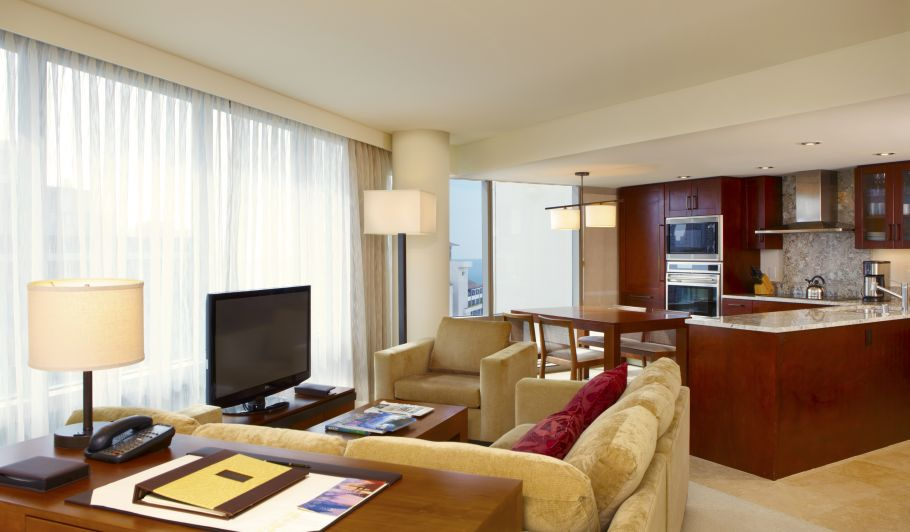 Hotel Suite Kitchen, Dining Table, & Couches