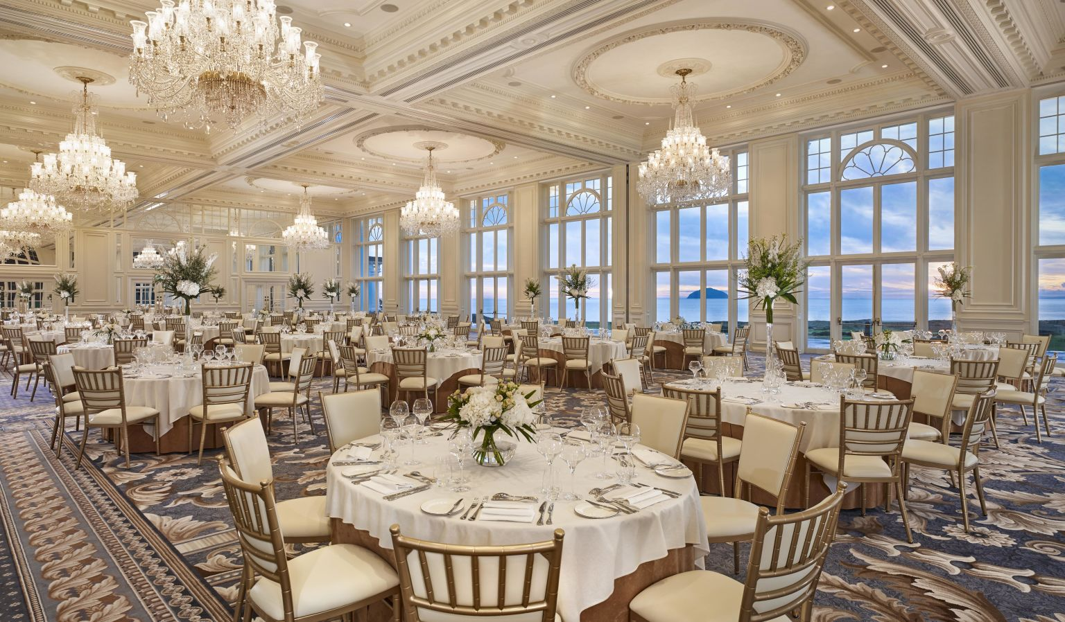 Wedding venues ayr trump turnberry wedding venues destination large ballroom with dining tables reception venue table settings solutioingenieria Choice Image
