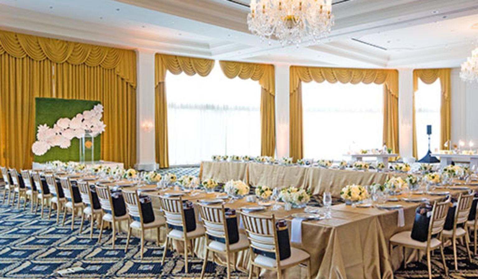 Ballroom with Long Tables & Chairs