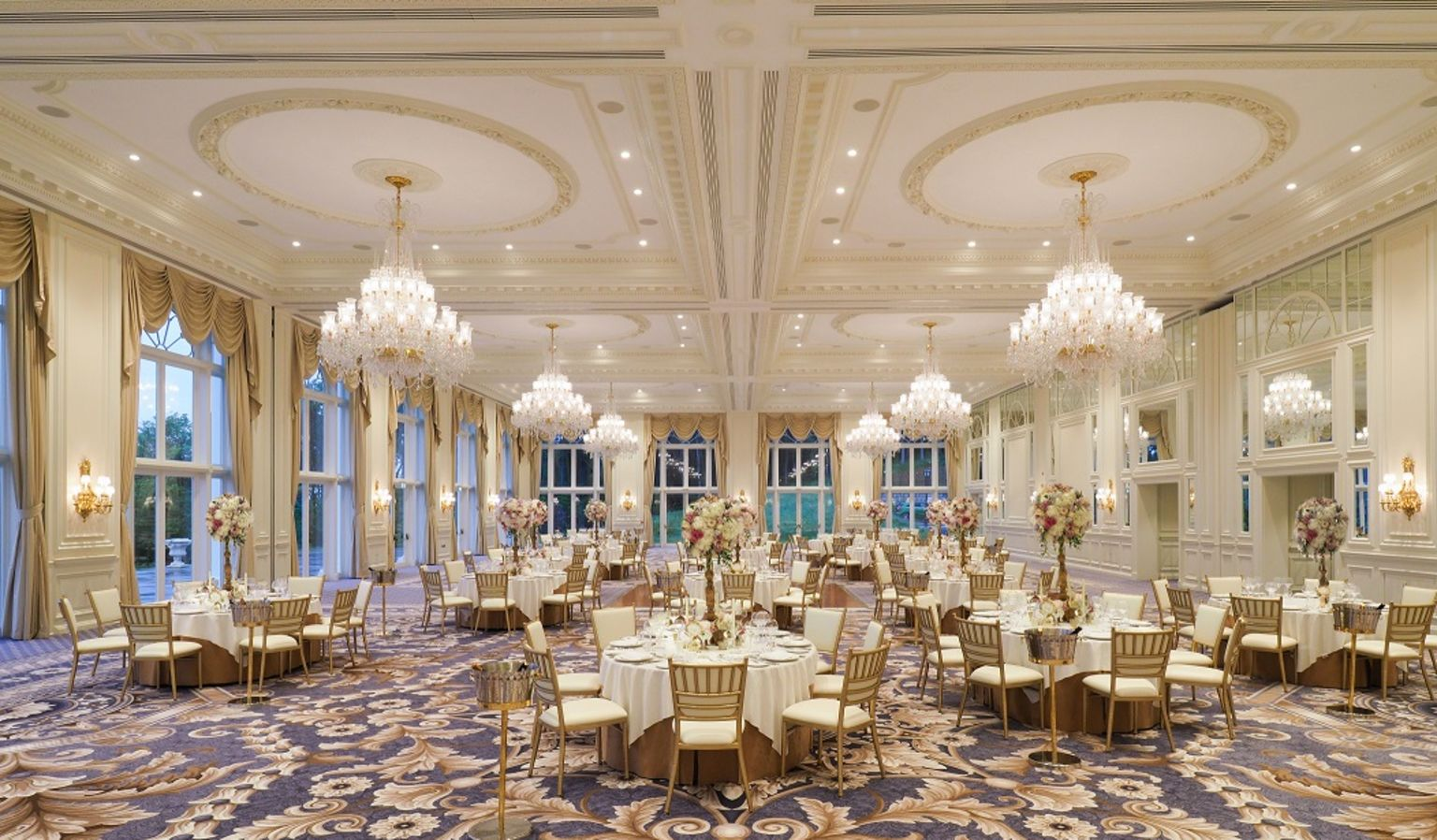 Ballroom with Tables, Chairs and Chandeliers