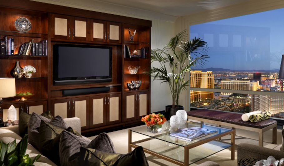Hotel Suite Living Room with Las Vegas View