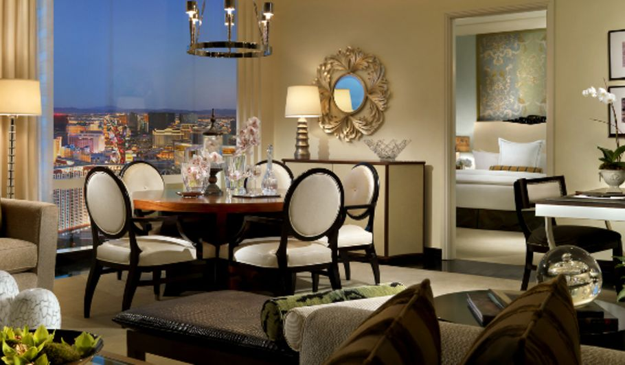 Hotel Suite Dining Area with Las Vegas View