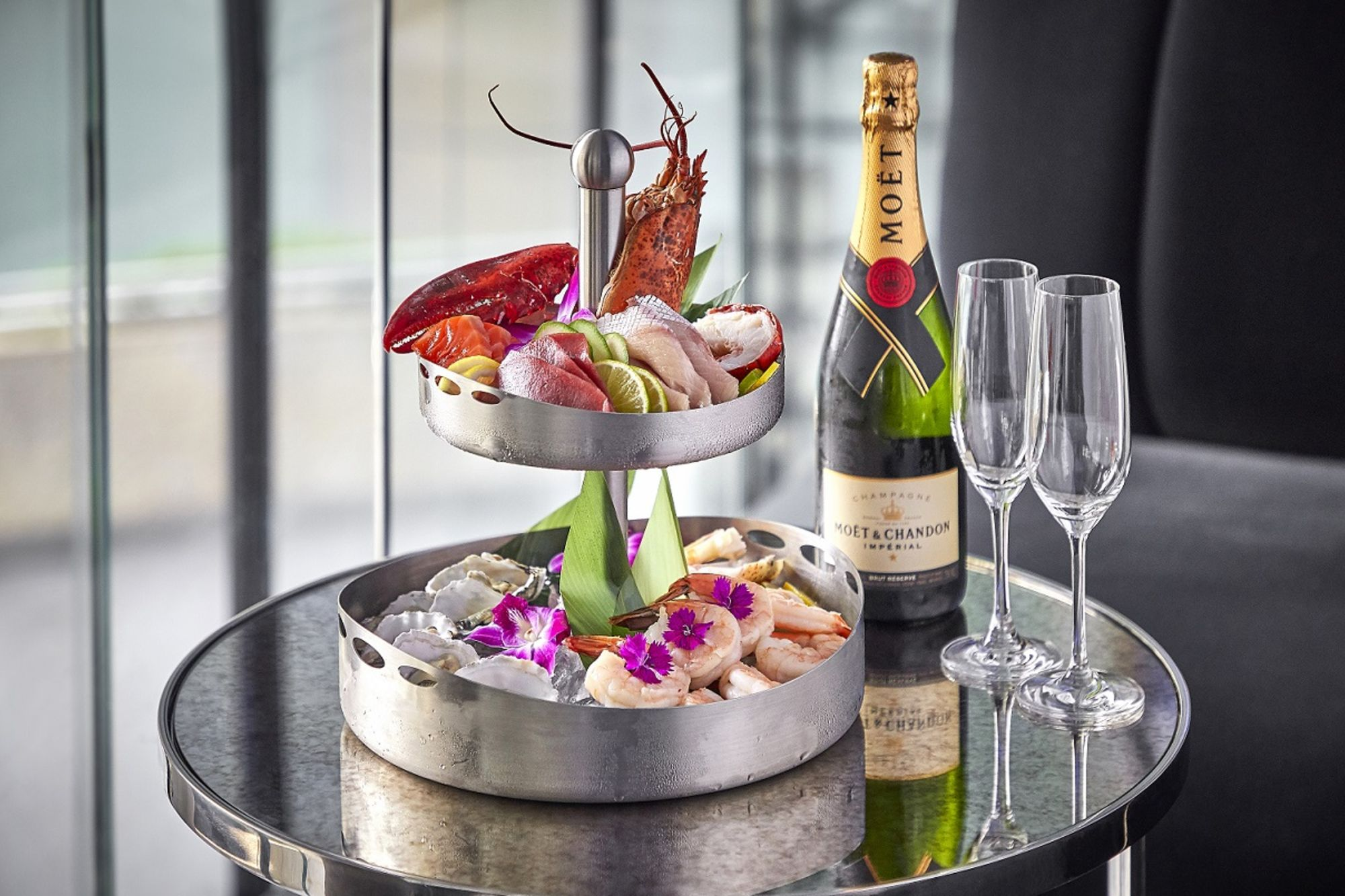 Seafood Tower and Champagne Bottle