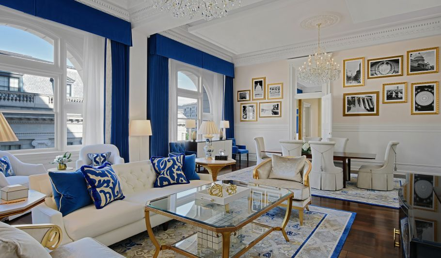 Blue and Gold Living Room Furniture