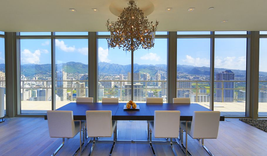 Modern Dining Room with City Views