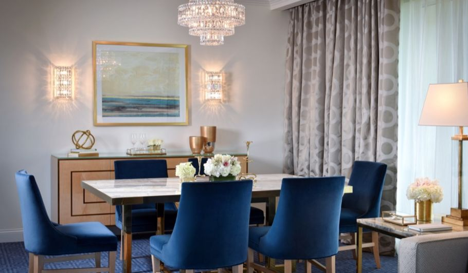 blue interior dining room