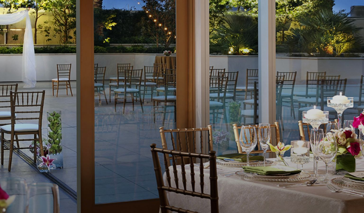 Outdoor Wedding Venue and Indoor Reception Space
