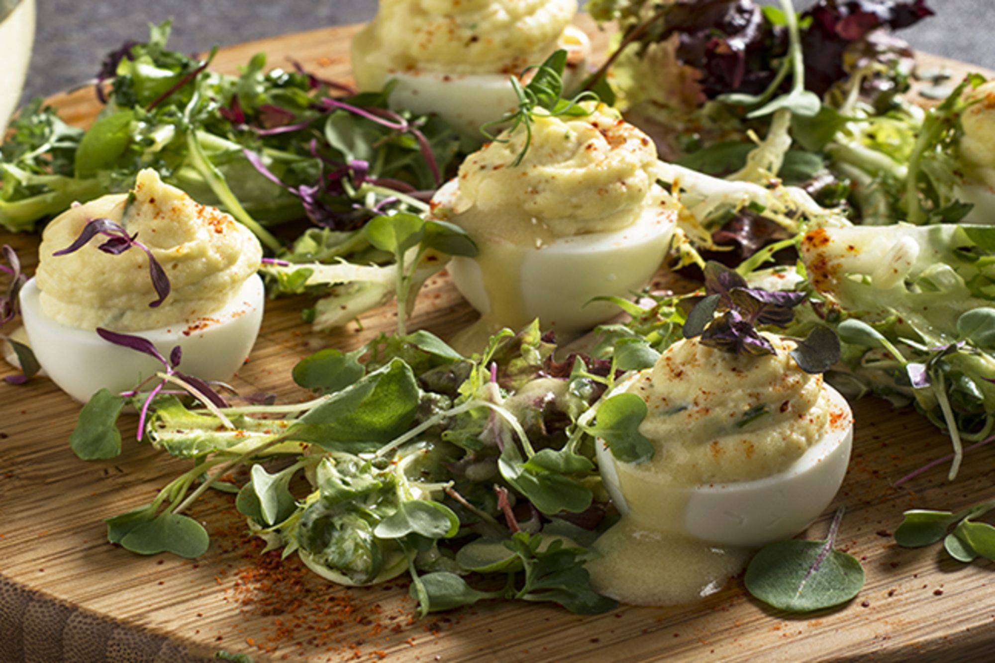 Deviled Eggs Platter with Green Sprout Garnish