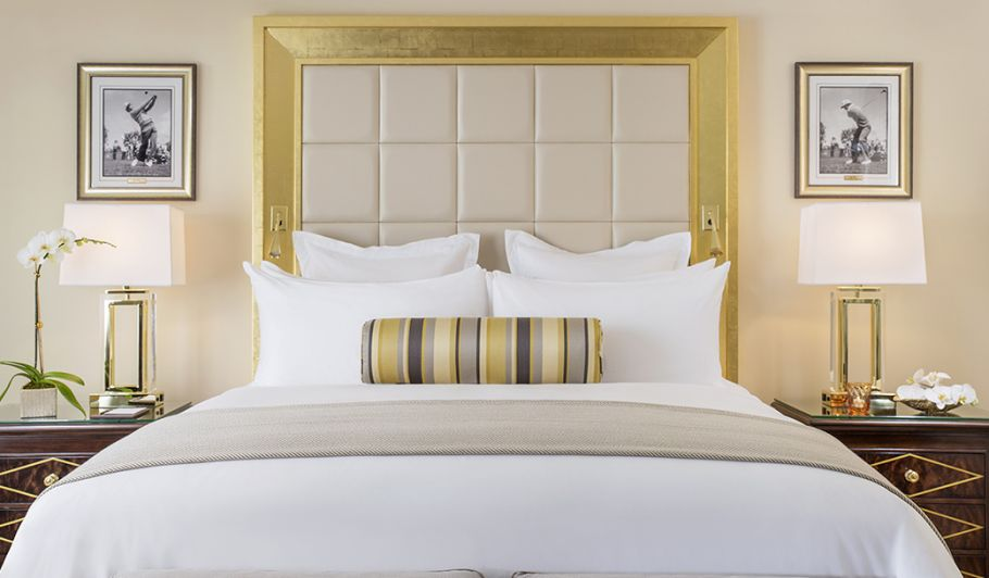 King Bed with Gold Headboard