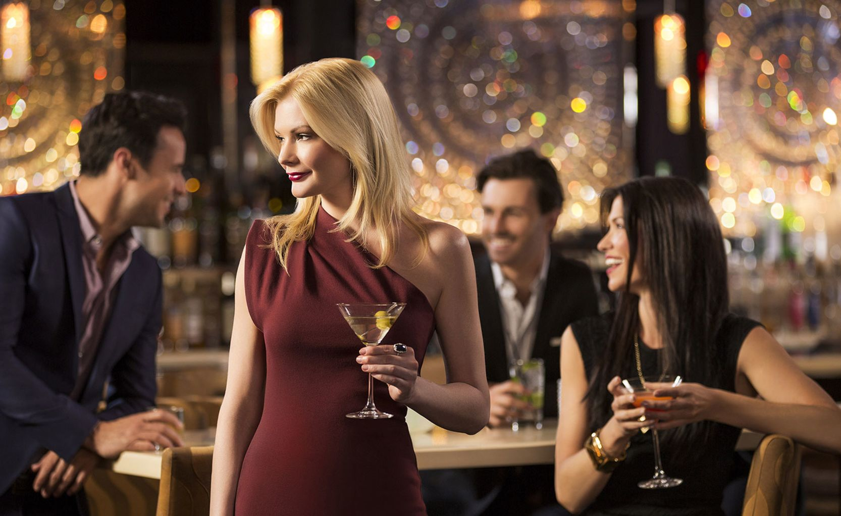 Blonde Woman with Martini at Bar