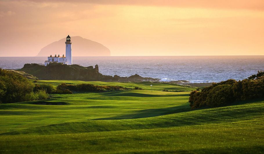 Trump Turnberry Golf Course at Sunset with Lighthouse