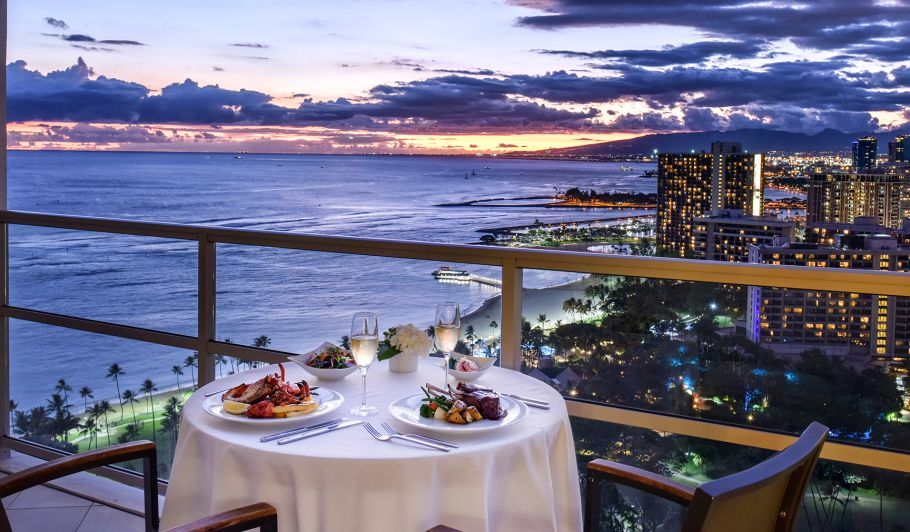 Dinner Overlooking the Ocean at Sunset