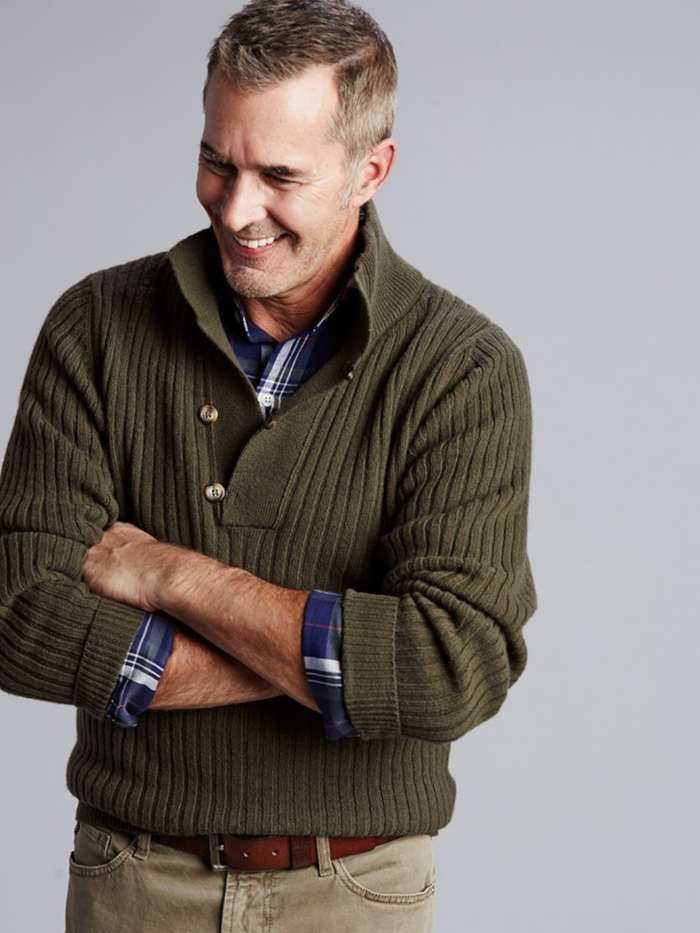 Mock neck sweater outfit for men