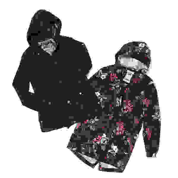 Two women's parkas - one navy blue and the other a floral print on black - laid flat on a white background.