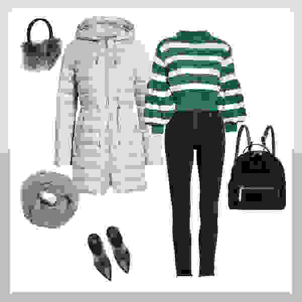 Cold weather clothes including puffer jacket and sweater